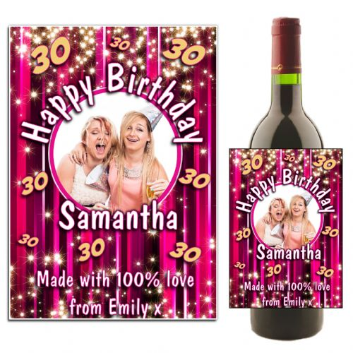 Personalised Happy Birthday Pink Glitz Wine Bottle PHOTO Label N8